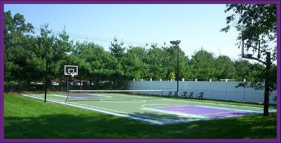 Backyard multipurpose court for basketball and tennis in Pennsylvania, New Jersey and Delaware.